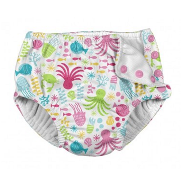iPlay Snap Reusable Absorbent Swimsuit Diaper White Sea Pals