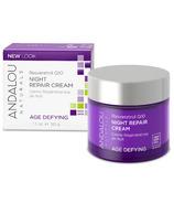 Crème réparatrice de nuit naturelle avec resvératrol Q10 d'ANDALOU