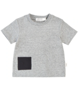 Miles Baby Short-Sleeve T-shirt in Heather Grey with Pocket 2Y-4Y