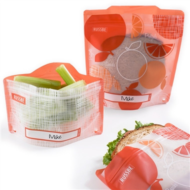 Russbe Reusable Snack and Sandwich Bags Orange Linen