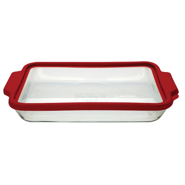 Anchor 3 Quart Baking Dish with TrueFit Lid Red