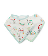 Loulou Lollipop Llama & Bright Rainbow Muslin Bib Set