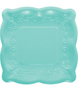 Elise Embossed Square Luncheon Plate Teal
