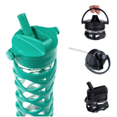Lifefactory Glass Water Bottle with Axis Straw Cap & Aquatic GreenSleeve