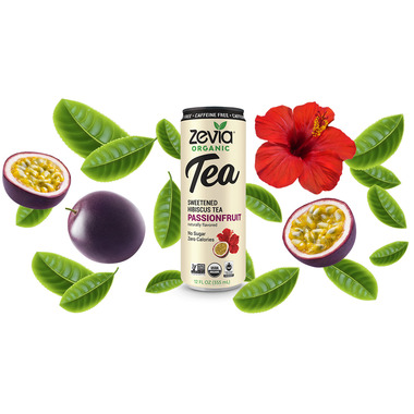 Zevia Organic Sweetened Hibiscus Tea Passion Fruit