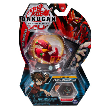 Bakugan Pyrus Mantonoid Collectible Action Figure and Trading Card