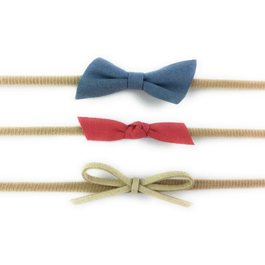 Baby Wisp 3 Mixed Faux Suede HeadBand Set Blue, Coral and Tan