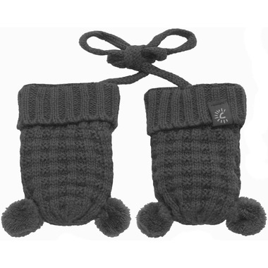 Calikids 100% Cotton Knit Mitts with Pom Poms Charcoal Grey