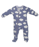 ZippyJamz Footed Organic Cotton Sleeper Sleepy Clouds Blue