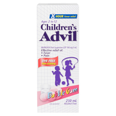 Children\'s Advil Suspension Dye-Free Bubble Gum