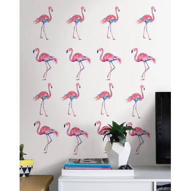 WallPops Pink Flamingo Wall Art Kit