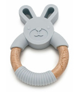 Loulou Lollipop Bunny Silicone and Wood Teething Ring Light Grey