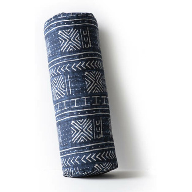 Halfmoon Cylindrical Bolster Indigo Mudcloth