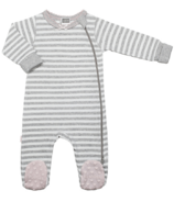 Kushies Side Zip Sleeper Light Grey Stripes & Pink