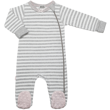 Kushies Side Zip Sleeper Light Grey Stripes & Pink