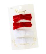 Baby Wisp Velvet Hand Tied Bows Red/White