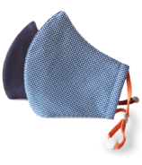 Happy 3-Layer Kid's Organic Cotton Face Mask Navy & Gingham