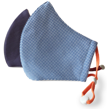 Happy 3-Layer Kid\'s Organic Cotton Face Mask Navy & Gingham