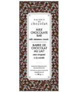 Galerie au Chocolat Barre de chocolat au lait avec croquant à la cannelle