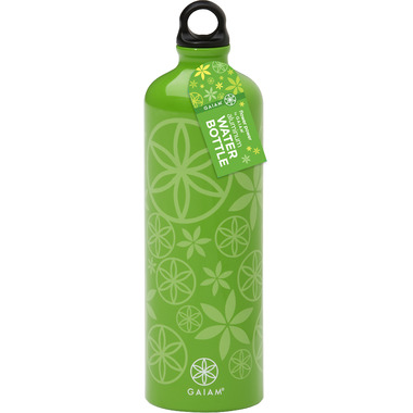 Gaiam Flower Power Spring Grass Aluminum Water Bottle