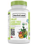 Gomme gélifiées pour adultes aux fruits, fibres et légumes bio de Herbaland