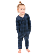 Smash + Tess The Mini Present Plaid Romper in Blue Holiday Tartan