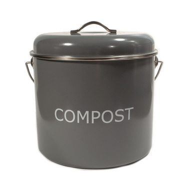 KitchenBasics Compost Bin + Charcoal Filter Grey Red