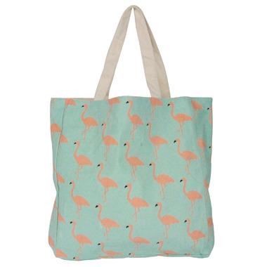 Silver Tree Aqua Canvas Shopping Bag