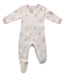 ZippyJamz Organic Cotton Footed Sleeper Blushing Kisses XO's