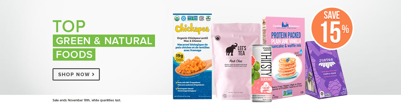 Save 15% off Top Green & Natural Foods
