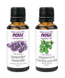 NOW Foods Lavender + Peppermint Essential Oils Set