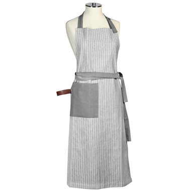 Harman Apron Chambray Stripe Charcoal