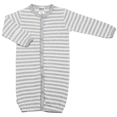 Kushies Convertible Gown Light Grey Stripes & Blue
