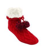 Pudus Classic Pom Pom Slipper Socks Red Cable Knit