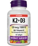 Webber Naturals Vitamin K2 + D3 120 mcg/1000 IU