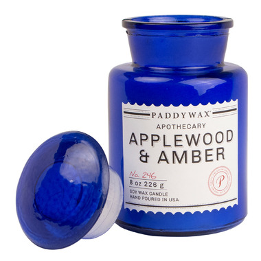 Paddywax Blue Apothecary Applewood & Amber Candle