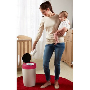 Tommee Tippee Simplee Diaper Pail With 4 Refills Pink