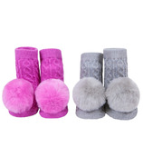 Waddle Pom Pom Rattle Socks Fucshia Pink & Grey