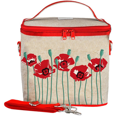 SoYoung Raw Linen Red Poppy Large Cooler Bag