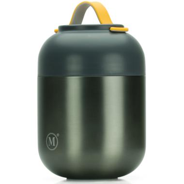 Minimal Large Insulated Food Jar with Spoon Gunmetal