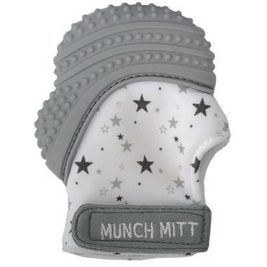 Munch Mitt Teething Mitten Grey Stars