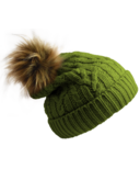 Pudus Hat Green Cable Knit Adult