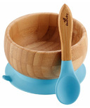 Avanchy Baby Organic Bamboo Stay Put Suction Bowl and Spoon Blue