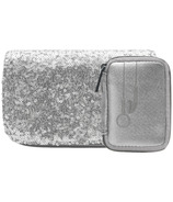 MYTAGALONGS Tech On The Go Silver Ear Bud And Charger Case Set