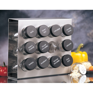 Prodyne Stainless Steel 12 Bottle Spice Rack