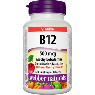 Webber Naturals Vitamin B12, Methylcobalamin, 500mcg