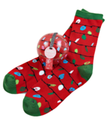 Little Blue House Women's Socks in Ornament Red Northern Lights