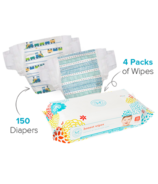 The Honest Company Trains & Teal Tribal Print Diapers & Wipes Bundle Size 5