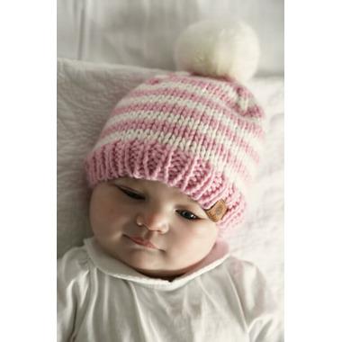 Bedford Road Pink Knitted Hat Pom Pom