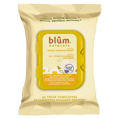 Blum Naturals Daily Cleansing & Makeup Removing Towelettes Dry Skin